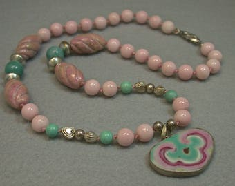 Antique Chinese PINK Porcelain HEART Qing Pendant Knotted Necklace,Vintage Pink Rhodonite Beads,Vintage Blue Amazonite, Vintage Silver Clasp