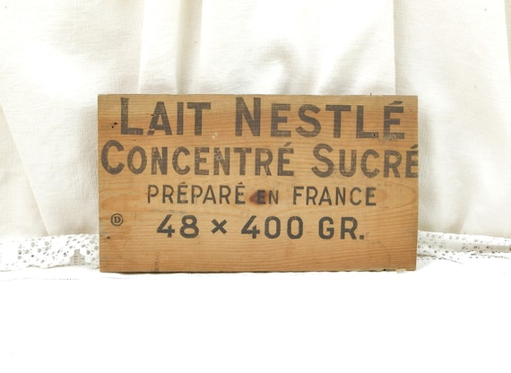 Vintage Wooden Board Sign for Nestlé Concentrated Milk / Lait Nestlé Concentré Sucré, Retro Industrial Wall Hanging made of Wood from France