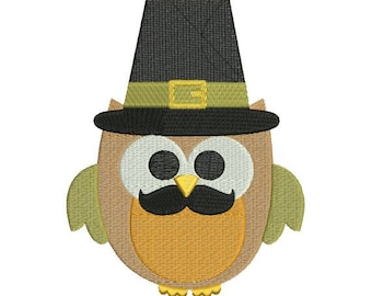 Owl Boy Mustache Pilgrim Fall Autumn Thanksgiving Harvest Machine Embroidery Designs - 4x4 and 5x7 Hoop Instant Download Sale