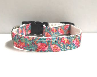"5/8"" Shrimp flamingo lilly inspired collar"