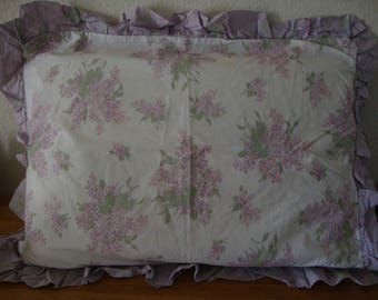 Set Rachel Ashwell Shabby Chic QUEEN Lavender LILAC Pillow SHAMS Set - Ruffled pillow cases - Slipcover - Rose Buds - Vintage Cotton Bedding