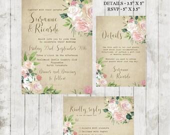 vintage wedding invitation, Printable wedding invitation set, digital wedding invitation, rose wedding invitation, floral invite, YOU PRINT