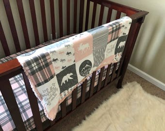 Minky blanket / baby / crib sheet / nursery bedding / crib bedding / crib set / sheets / deer / girly / woodland / plaid / gift / moose