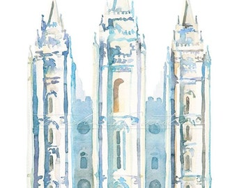 LDS Salt Lake Temple Painting Watercolor Blue Print