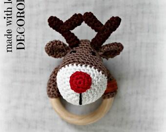 Hand made crochet REINDEER rattle