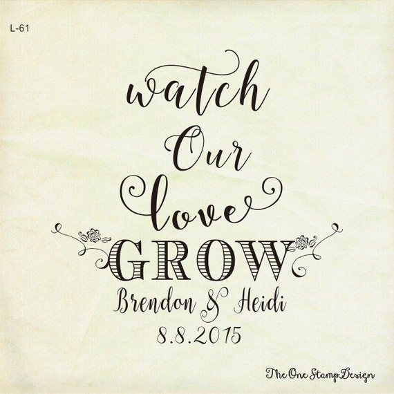 Wedding Favor Stamp Watch Our Love Grow Wedding Stamp