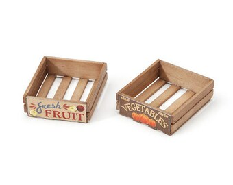 Miniature Wooden Produce Crate ~ Dollhouse Accessories ~ Diorama ~ Fairy Garden ~ Choose Style