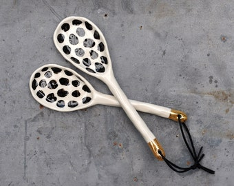 CHEETAH - Serving Spoon Set -  Hand Sculpted Stoneware - Real Gold