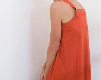 Vintage 70s dress Trapeze jumper dress Wide A line dress Women's sundress Sarafan dress Terracotta dress Orange marmalade dress Sleeveless