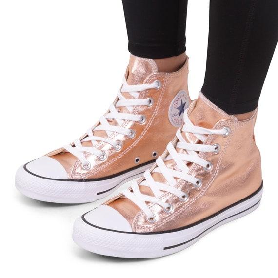 Rose Gold Converse Copper High Top Blush Metallic w/ Swarovski Crystal Wedding Chuck Taylor Rhinestone Bling All Star Bridal Sneakers Shoe
