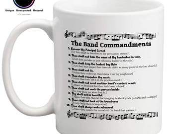 The Band Commandments- Funny Novelty Mug- Gift for Brass Player- Brass Band Gift- Gift for Conductor- FREE UK SHIPPING