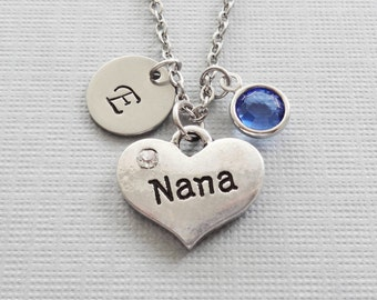 Nana Heart Necklace, Grandma, Grandmother,Mothers Day Gift Swarovski Birthstone, Silver Initial,Personalized, Monogram, Hand Stamped Letter