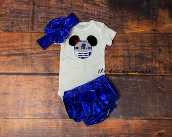 Minnie Mouse R2D2 baby girl outfit, infant bodysuit, newborn coming home outfit, star wars outfit, star wars, disney, r2d2, jedi princess