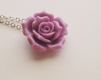 Glitter Rose Necklace