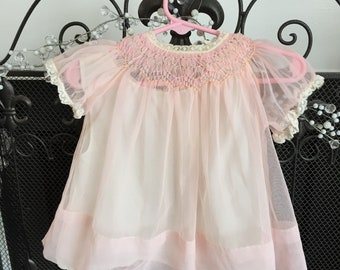 sheer Vintage Pink Baby Dress Chiffon with smocked bodice and lace trim infant girl 1950s