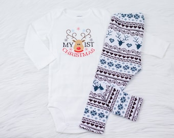 "Baby's First Christmas Shirt, ""My 1st Christmas"", Baby Boy, Baby Girl, Christmas Leggings, Reindeer Leggings"