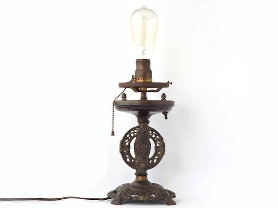 Antique table lamp cast iron art deco lighting slag glass base arts and crafts ornate metal office working lighting boho decor free shipping