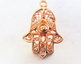 Vermeil,18k ROSE gold over 925 Sterling silver hamsa hand charm, rose gold  hamsa hand, hamsa hand, shiny rose gold hamsa hand,