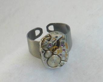 Steampunk Style Watch Movement Ring  SR57