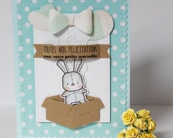 card congratulations baby boy Bunny balloons green white, hand made card