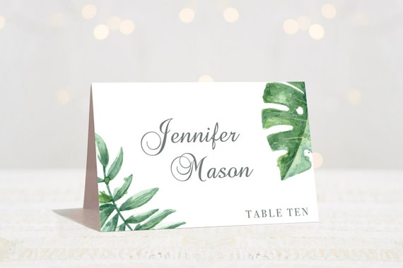 Botanical Cards Wedding Place Cards Table Seating Cards Name - Place card setting template