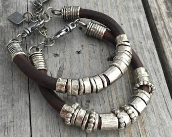 Leather Bracelet Sterling Silver Handmade Bracelet Wild Prairie Silver Jewelry By Joy Kruse