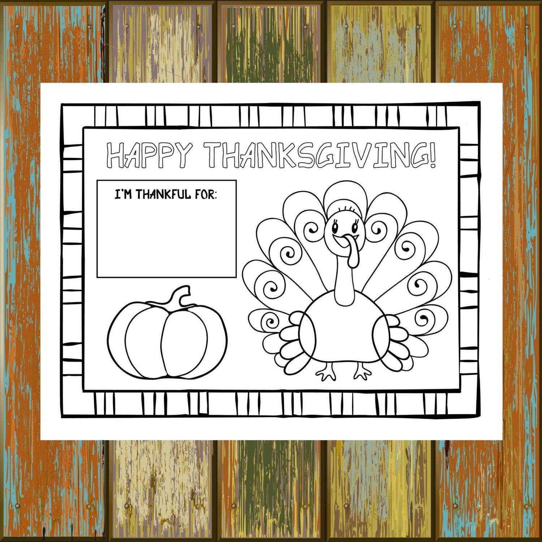 Printable Thanksgiving Placemat 8.5x11 8.5x14 11x17