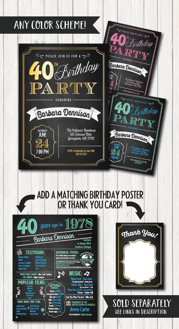 40th Birthday Invitations. 40th Birthday Party Invitations.