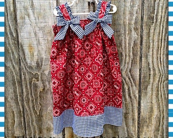 GIRLS SUMMER DRESS red western dress modest dress