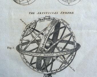 1819 Artificial Sphere Original Antique Engraving, astronomy, wall decor, home decor, Isaac Payne atlas