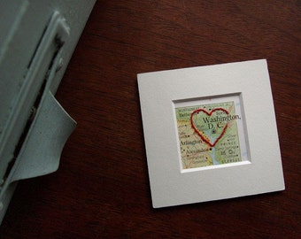 I Heart D.C. - embroiderd vintage map