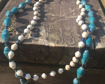Cream and Teal Double Strand Paper Bead Necklace