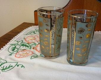 Retro drinking glasses, 2 art deco drinking glasses, Libbey drinking glasses, highball glass, art deco barware