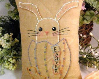 Easter Egg bunny Chick embroidery Pattern PDF - pinkeep tag pincushion tuck