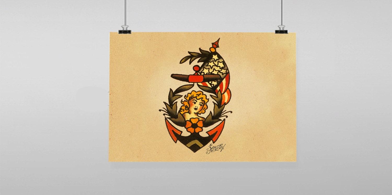 anchor girl USA flag Tattoo Sailor Jerry Vintage