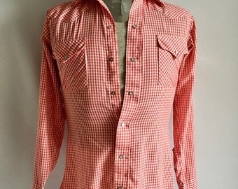 Vintage Men's 80's Western Shirt, Checkered, Snap Button, Long Sleeve by Ranch & Town (S)