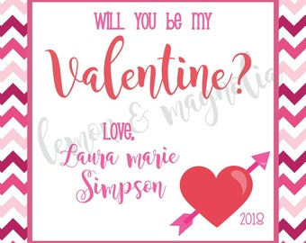 Red and Pink Chevron with Heart Valentine Tag
