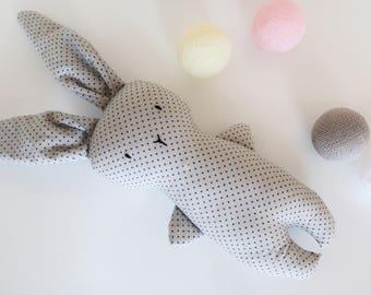 Grey Handmade Bunny - Stuffed Kids Toy - Handmade Rabbit - Handmade Plush Bunny - Baby Plush Toy - Plush Rabbit