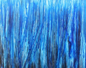 """The Blues, abstract acrylic painting, highly textured, 12"""" x 12"""" x 1.5"""" stretched canvas, ready-to-hang"""