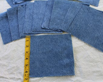 """20 Denim Squares  cut to 6 1/2"""" x 6 1/2"""" Upcycled from blue denim jeans for quilts or other sewing projects"""