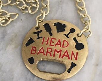 Vintage Head Barman bottle opener medal - novelty - bar decor - 1970s - brass - gold - bartender - gift