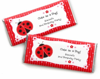 24 Ladybug Custom Candy Bar Wrappers - Personalized Baby Shower and Birthday Party Favors
