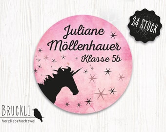 """24 stickers """"Unicorn"""" / school / labels / book stickers / stickers for the school / marking"""