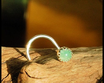 Nose Stud / Nose Screw / 3mm Aventurine in Sterling Silver Serrated Bezel - CUSTOMIZE