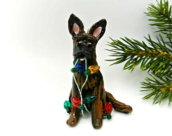 Dutch Shepherd PORCELAIN Christmas Ornament Figurine Lights Clay