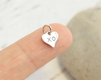 Sterling Silver XO Heart Charm -- One Piece