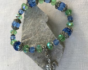 Blue and Green Crystal Bead Bracelet With Sea Turtle Charm