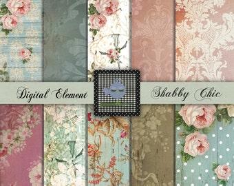 Digital Vintage Scrapbook Paper, Shabby Rose Digital Background Paper, Teal Digital Paper, Photo Backgrounds. P97.DA