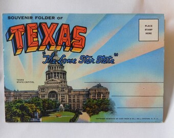 """1948 Texas Postcard Booklet """"The Lone Star State""""  New old stock card of 18 views"""