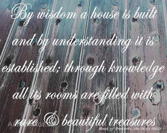 """Scripture Sign """"By wisdom a house is built"""" on Weathered Wood, Gray Teal White Rustic Decor"""